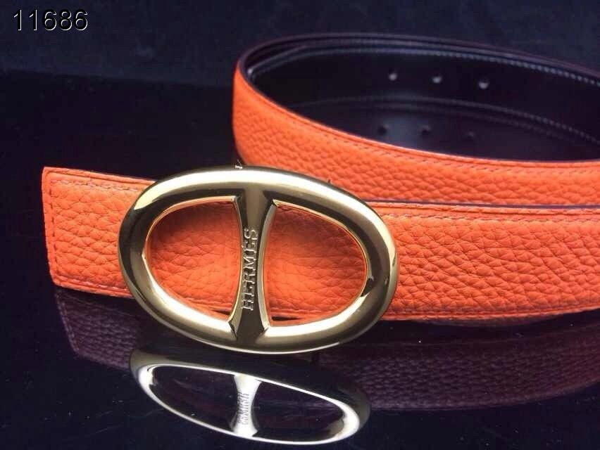 Hermes Womens Belt Orange with Golden H Buckle Clearance